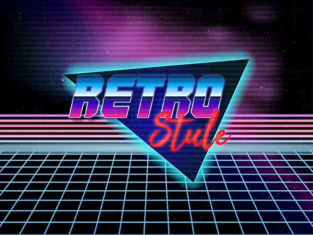 80s retro achtergrond bewerkbare tekst vector