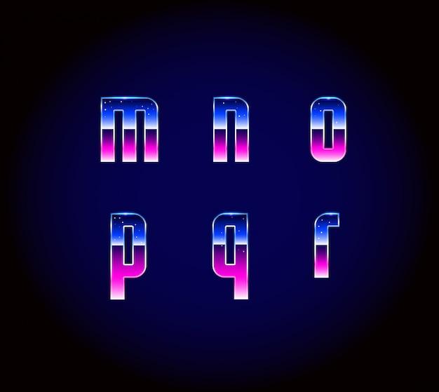 80s retro futurisme sci-fi lettertype alfabet vector
