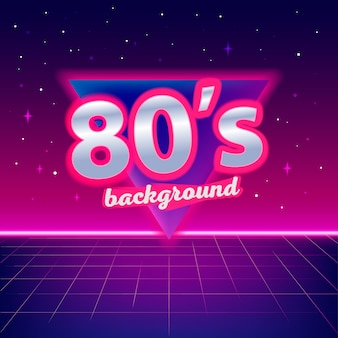 80s sci-fi achtergrond met perspectief raster