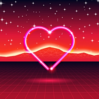 80s stijl retro futuristische kaart met neon hart in computerwereld