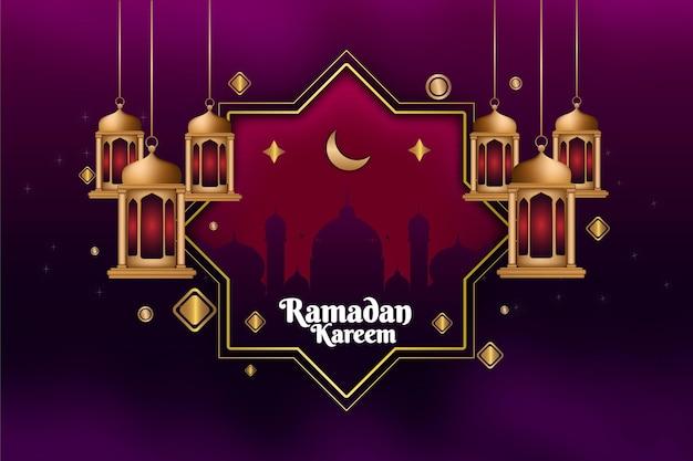 85 ramadan kareem gouden lantaarn achtergrondkleur blauw en goud