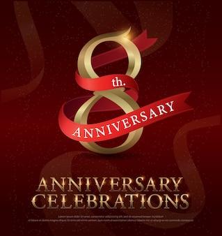 8ste jaar jubileumfeest gouden logo