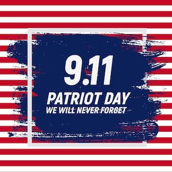 9.11 patriot day-achtergrond we zullen nooit vergeten postersjabloon vectorillustratie