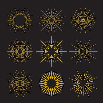 9 art deco vintage sunbursts collectie met geometrische vorm, lichtstraal. set vintage zonnestralen in verschillende vormen.