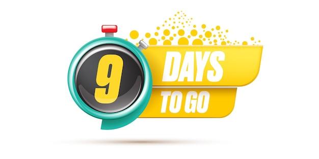 9 dagen te gaan bannerontwerpsjabloon