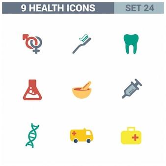 9 gezondheid flat icon set