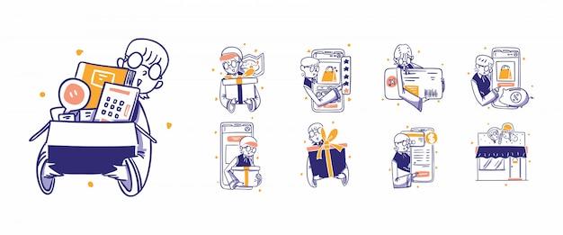 9 online winkelen, e-commerce pictogram illustratie in hand getrokken ontwerpstijl. kopen, kopen, cadeau, prijs, tarief, recensie, kaart, krediet, kaartje, betalen, betaling, verkoop, gratis, levering, apps, online, winkel, winkel