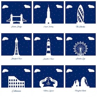 9 silhouetten van monumenten