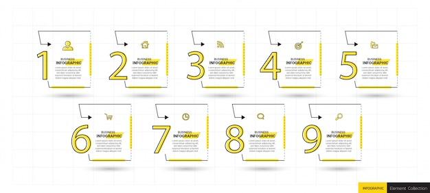 9 stappen tijdlijn infographics ontwerpsjabloon.