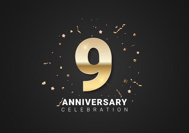 9 verjaardag achtergrond met gouden cijfers, confetti, sterren op heldere zwarte vakantie achtergrond. vectorillustratie
