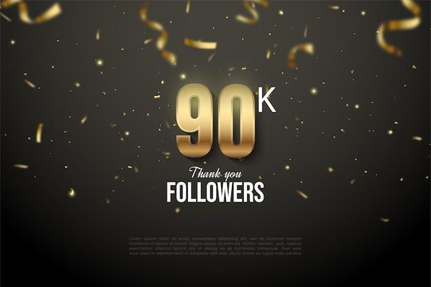 90.000 volgers met cijfers en gouden lintdruppel.