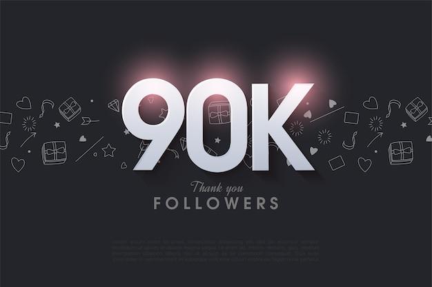 90.000 volgers met een glanzend nummer bovenaan.
