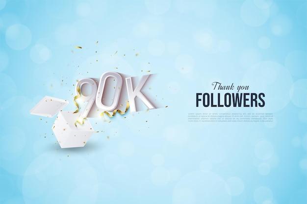 90.000 volgers met illustratie van getallen die uit de shockbox komen.