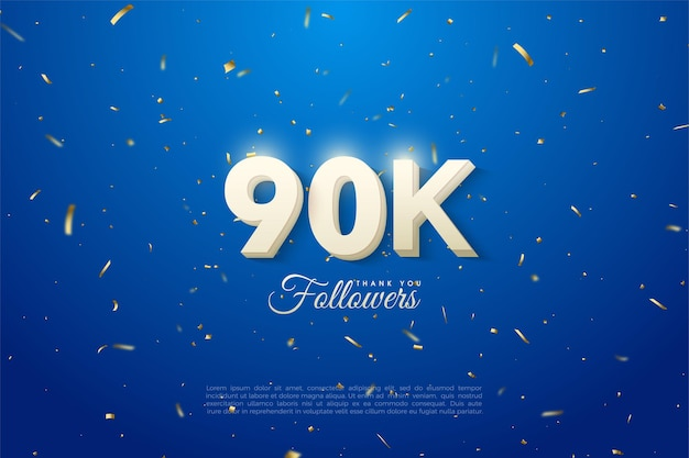 90.000 volgers met illustratie van wolk witte cijfers.