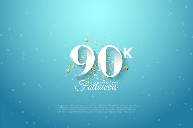 90.000 volgers met numerieke illustratie over blauwe hemel.