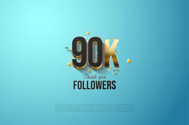 90.000 volgers met vergulde nummerillustratie.