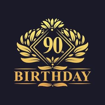 90 jaar verjaardagslogo, luxe gouden 90e verjaardagsviering.