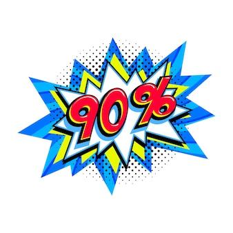 90 korting te koop. komische blauwe verkoop knalballon