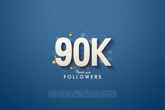90k volgers met mooie cijfers op marineblauwe achtergrond.