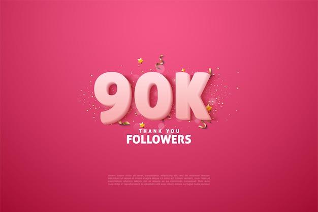 90k volgers met zachte witte cijfers op roze achtergrond.