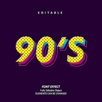 90s generation retro pop color text effect premium