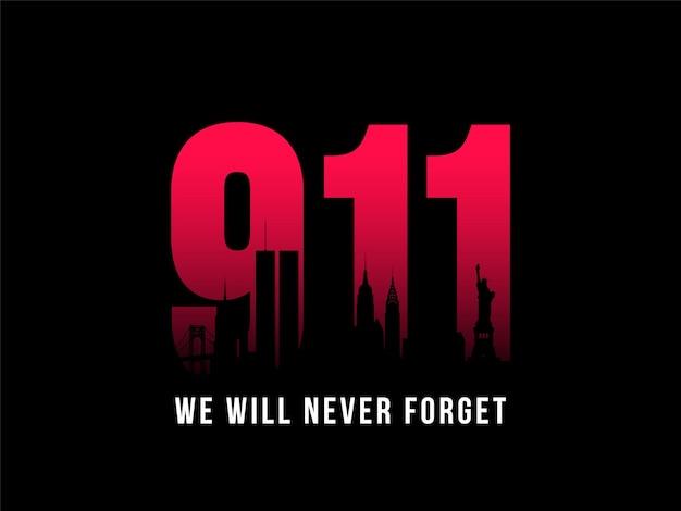 911 patriot dag banner Premium Vector