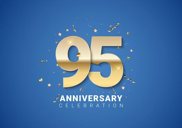 95 verjaardag achtergrond met gouden cijfers, confetti, sterren op heldere blauwe achtergrond. vectorillustratie eps10