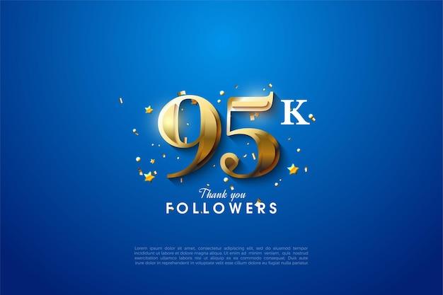 95k volgers met gouden cijfers op blauwe achtergrond