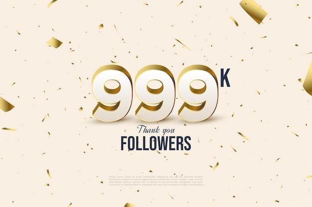 999k volgers met cijfers en stukjes goudfolie