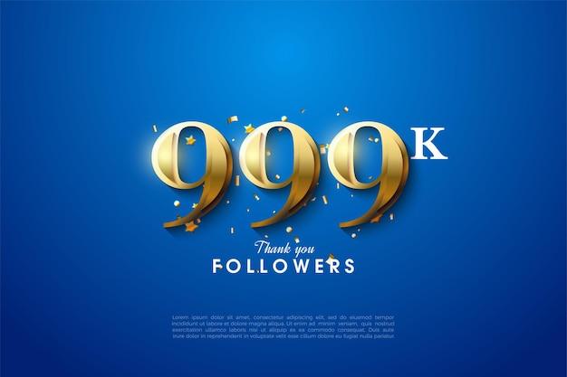 999k volgers met gouden cijfers op blauwe achtergrond