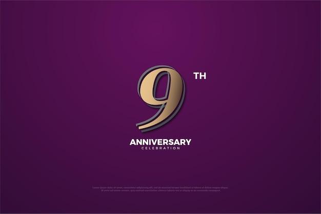 9e verjaardag met bruin nummer.