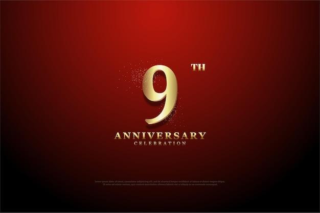 9e verjaardag met cijfers van gouden glitter
