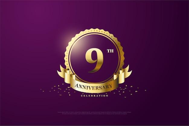 9e verjaardag met een medaillonnummer in het midden van het goud.