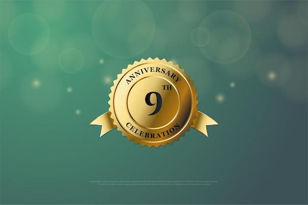 9e verjaardag met een nummer in het midden van een glimmende gouden medaille.