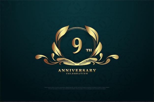 9e verjaardag met een nummer in het midden van een zeldzaam symbool.