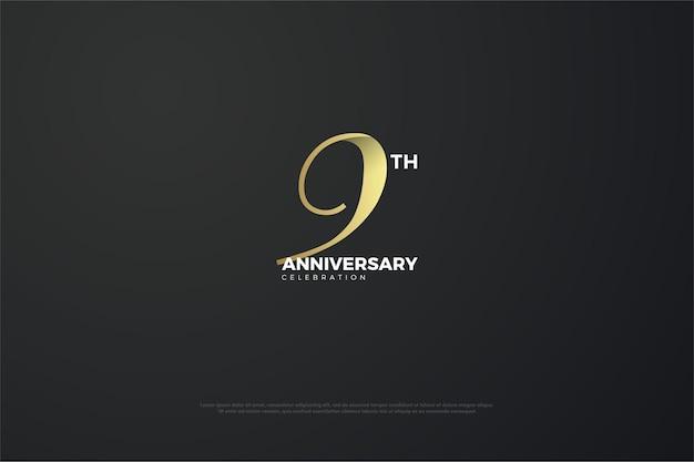 9e verjaardag met een uniek nummer.