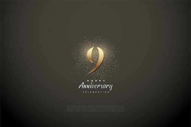 9e verjaardag met glinsterende gouden nummer en glitter.
