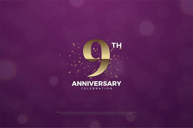 9e verjaardag met goudbruin nummer en kralen.