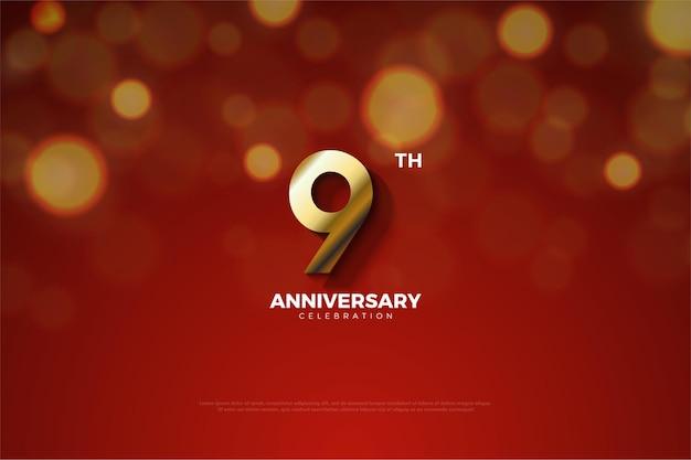 9e verjaardag met het nummer afgesneden door de schaduw.