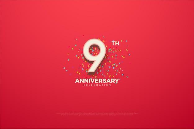 9e verjaardag met kleurrijk nummer.