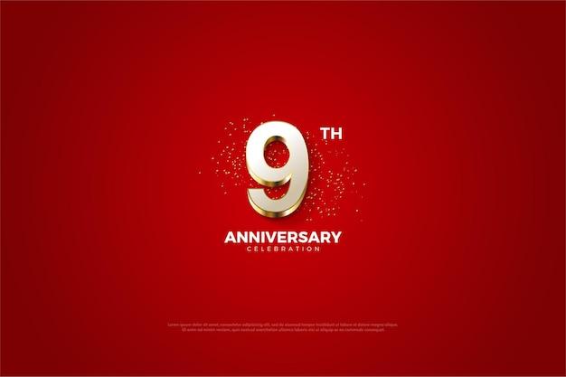 9e verjaardag met luxe gouden cijfers.