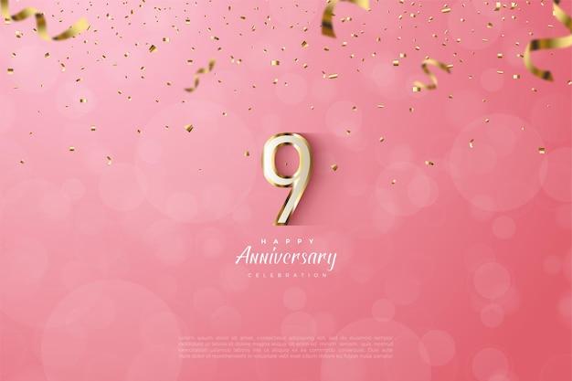 9e verjaardag met luxe gouden omtrek.