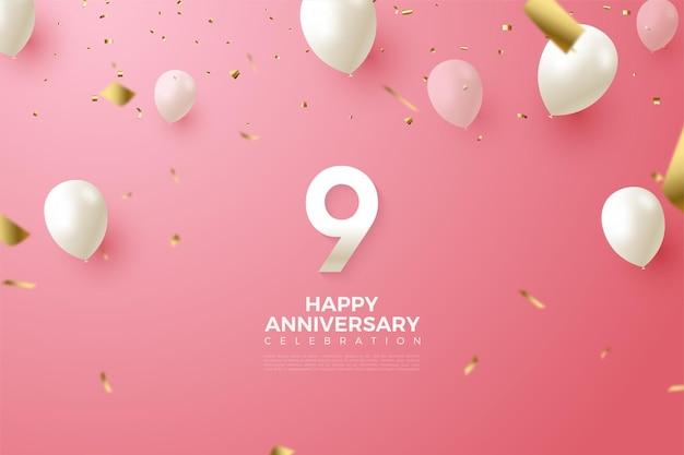 9e verjaardag met nummer en vliegende witte ballonnen.