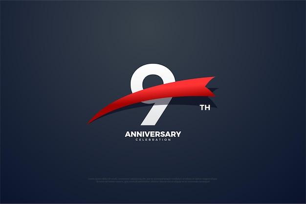 9e verjaardag met rood taps toelopend nummer.