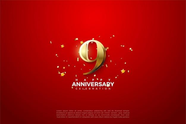 9e verjaardag met sprankelend gouden nummer.