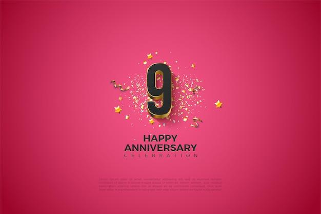 9e verjaardag met verguld nummer.