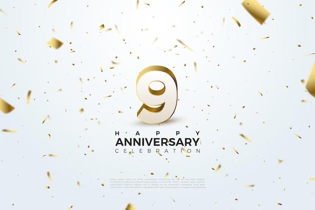 9e verjaardag met verspreid nummer en gouden papier.