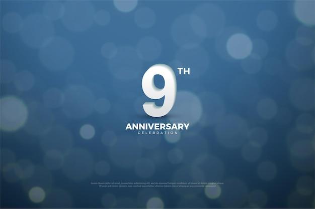 9e verjaardag met vloeiende nummer- en cirkeleffecten.