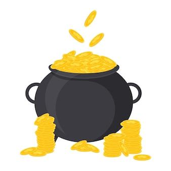 Ãâ ã'â¡auldron van goud. vectorillustratie voor st. patrick's day. geïsoleerd op een witte achtergrond.