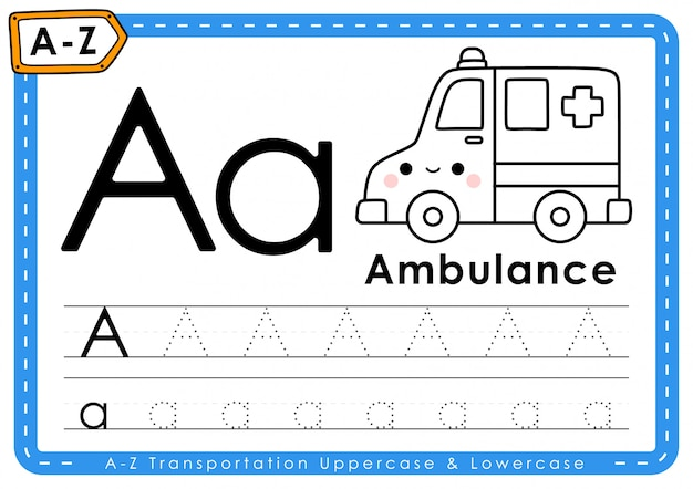 A - ambulance: alfabet az transport tracing letters werkblad